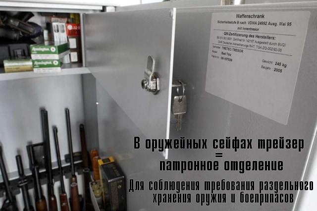 Трейзер в оружейных сейфах - патронное отделение.