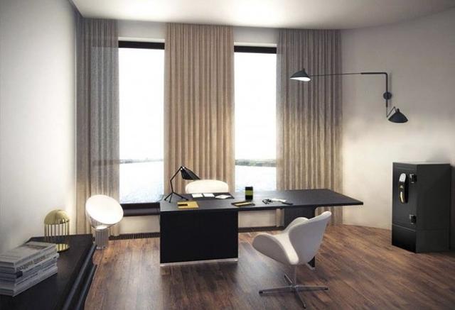 Сейф в кабинете в стиле минимализм.